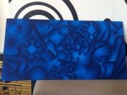 tableau abstrait abstrait psychedelique bleu geometrie : H2O