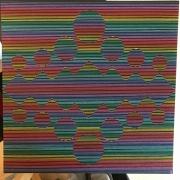 tableau abstrait psychedelique abstrait lignes : Entre les lignes