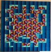 tableau abstrait evasion geometrie psychedelique cubes : Évasion
