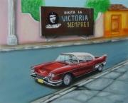 tableau scene de genre voiture americaine ancienne automobile : cadillac Eldorado 1952