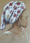 tableau personnages portrait femme ocean indien tissu : turban blanc