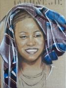 tableau portrait femme collage tissu bleu voyage : turban bleu
