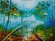 tableau paysages pluie alee rain trees : Promenade sous la pluie
