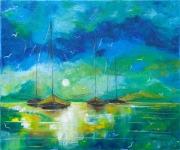 tableau marine bateaux seascape reflets mer : Bateaux