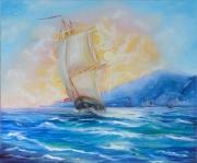 tableau marine seascape marin voilier sailing ship : Le voilier