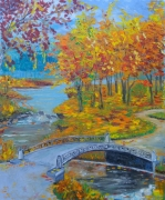 tableau paysages autumn trees bridge gold : Automne