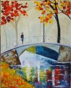 tableau paysages pont bridge autumn trees : Petit pont