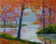 tableau paysages gold automn trees river : Automne d'or