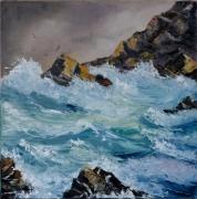 tableau marine mer vagues tempete roches : Tempête en mer