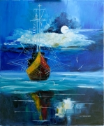 tableau marine moon ship sea bateau : Lune et mer