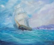 tableau marine voilier sailing ship seascape marin : Le Voilier