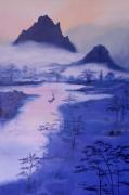 tableau paysages asie bleu halong bay misty : Asie mystique