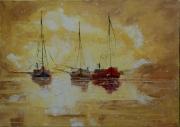 tableau marine bateaux mer impressionime paysage marin : Bateaux