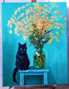 tableau fleurs chat fleurs bouquet nature : LES COULEURS DU CHAT PRÈS DU BOUQUET (HUILE ET FEUILLES D'OR)