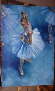 tableau personnages ballerine danceuse femme portrait : portrait ballerine vue sur le lac des cygnes