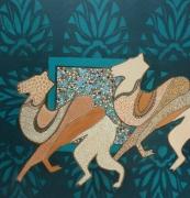 tableau animaux mosaique animaux bleu vert ocre : esprit mosaïque: Les deux chameaux¨