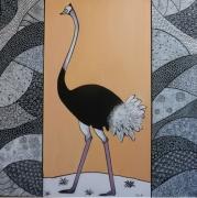 tableau animaux autruche graphisme noir blanc beige rose : L'autruche