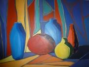 tableau nature morte vases rouge jaune bleu : Mosaique de couleurs