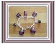 bijoux autres bracelet perles chaine : BRACELET MIX PERLES EN VERRE DE MURANO TON AMETHYSTE