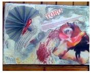 tableau autres corrida animaux scrapbooking personnage : TABLEAU SCRAPBOOKING ET PEINTURE ACRYLIQUE TORO 33x22
