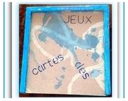 bois marqueterie abstrait jeux cartes bois dessin : COFFRET BOIS JEUX CARTES DES