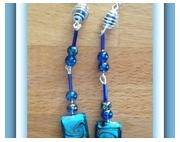 bijoux boucles d oreil perles swarovski murano : BOUCLES D'OREILLE CARREE SWAROVSKI PERLE DE VERRE BLEU ET S