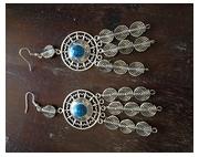 bijoux autres boucles d oreil turquoise alliage : Boucles d'oreilles style indien avec spirales 12 x 11 mm al