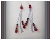bijoux : boucles d'oreilles en verre cristal MURANO rouges et noires