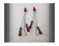 boucles d'oreilles en verre cristal MURANO rouges et noires