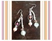 bijoux autres boucles d oreil perles cristal : boucles d'oreilles Perles Cristal rose et blanches craquelé