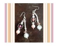 boucles d'oreilles Perles Cristal rose et blanches craquelé