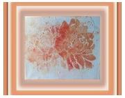 """tableau fleurs fleurs dahlias peinture acrylique : TABLEAU SUR """"LES DAHLIAS ORANGES"""""""