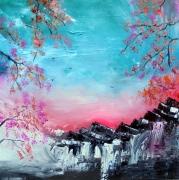 tableau paysages paysage japonais zen : Paysage japonais