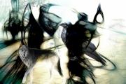 art numerique animaux corbeau loup crow wolf : Le corbeau et le loup (60x40)