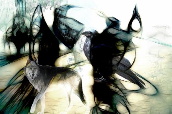 ART NUMéRIQUE corbeau loup crow wolf Animaux  - Le corbeau et le loup (60x40)