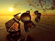 mixte paysages flots ocean chute : Icartade (80x60)