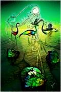 art numerique abstrait henri iv ibis royaume sagesse : Ibis et coeur de pierre (30x45)