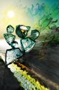 art numerique abstrait pacific reflets ame : La ligne semi verte (40x60)