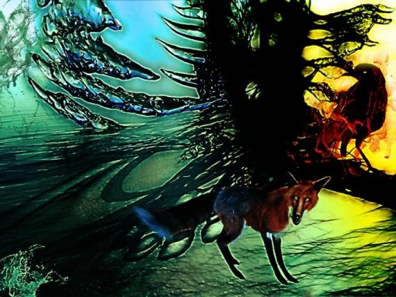 AUTRES renard corbeau fox lafontaine Animaux  - Le corbeau et le renard (60x40)