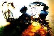 art numerique abstrait scorpion flamme sphere : Duel (60x40)