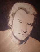 tableau personnages johnny gravure bois pyrogravure : johnny2