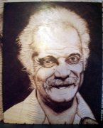 tableau personnages brassens gravure bois pyrogravure : georges