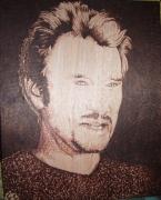 tableau personnages johnny gravure bois pyrogravure : l'idole