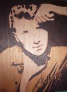 tableau personnages johnny gravure bois pyrogravure : johnny jeune