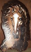 tableau animaux cheval gravure bois blanc : canasson
