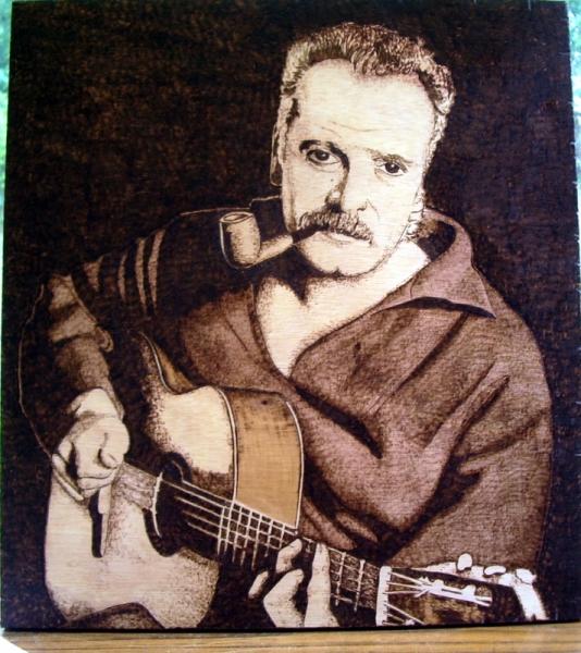 TABLEAU PEINTURE Brassens guitare gravure bois Personnages Gravure  - Georges