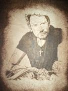 tableau personnages johnny gravure bois pyrogravure : johnny motard