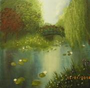 tableau paysages etang nenuphars pont arbres : Etang de nénuphars