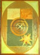 tableau abstrait radionique zodiaque toile huile : OVAL