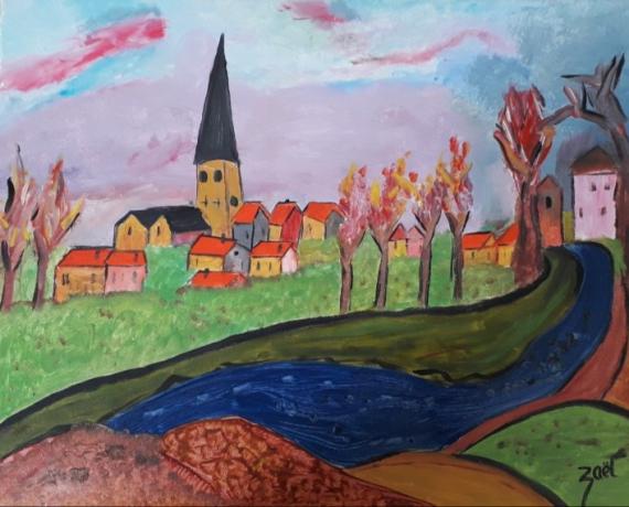 TABLEAU PEINTURE Paysages Peinture a l'huile  - VILLAGE ALSACIEN